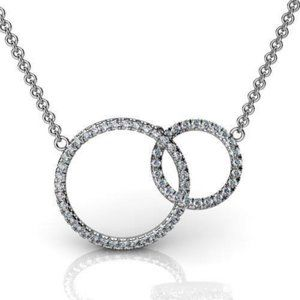 Circle pendant necklace 5 carats round cut diamond